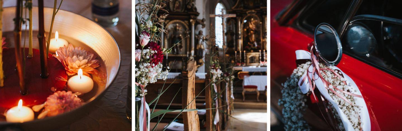Hochzeitsfloristik, Florist Chiemgau, Kirchenschmuck, Stefanie Bachmeier Fotografie, Brautauto