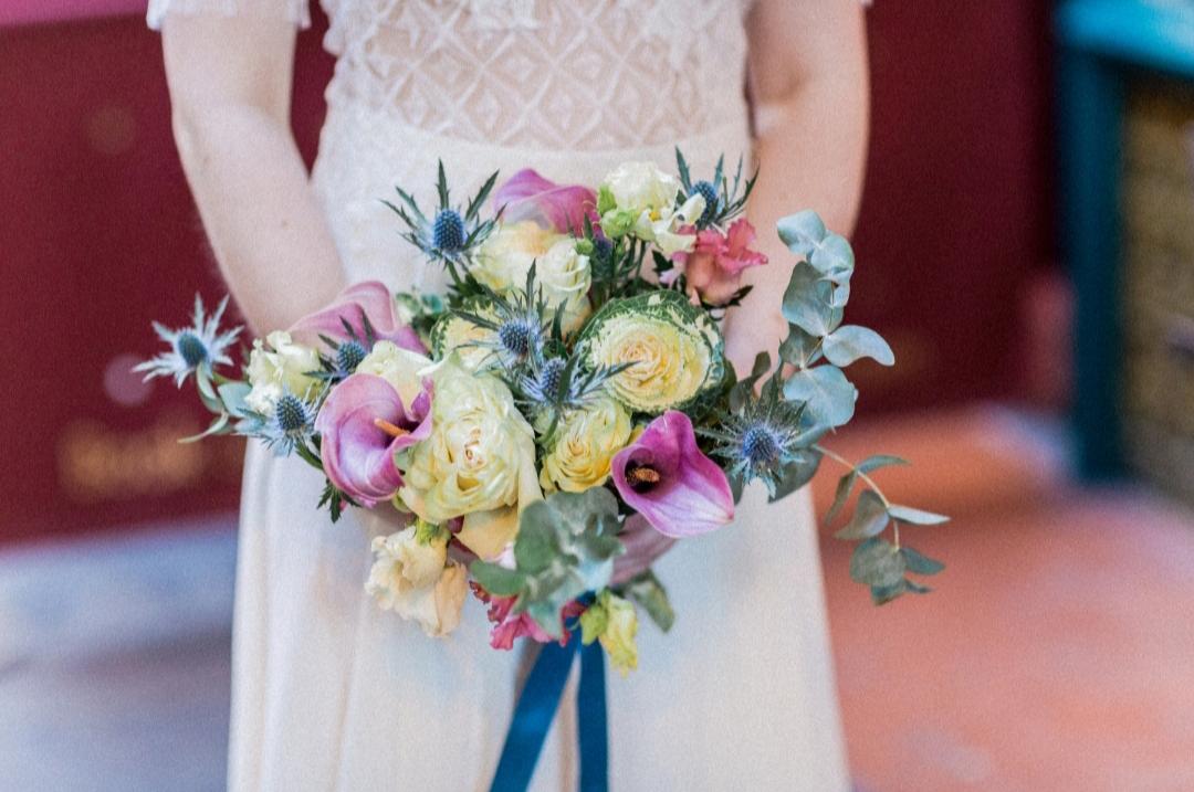 Pastellfarbener Brautstrauß